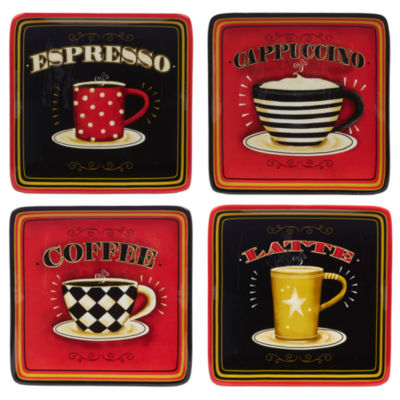 Certified International Coffee Always 4-pc. Salad Plate