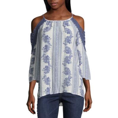 Como Blu 3/4 Sleeve Scoop Neck Paisley T-Shirt-Womens