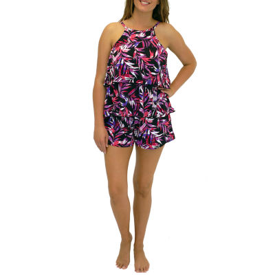 A Shore Fit Tarzana Hi Neck 2 Tier Romper