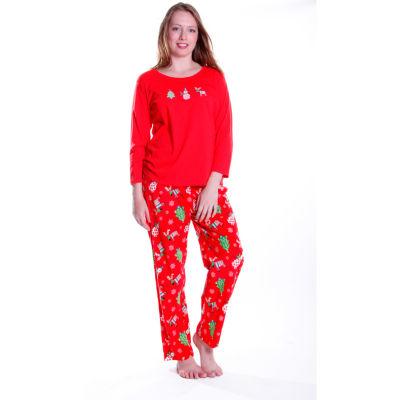 La Cera Plus Size Knitted Flannel Pajama Set