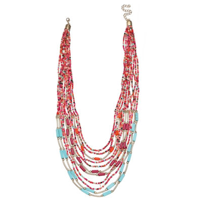 Mixit Clr 0418 Turq Muti Womens Beaded Necklace