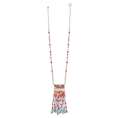 Mixit Clr 0318 Turq Muti Womens Beaded Necklace