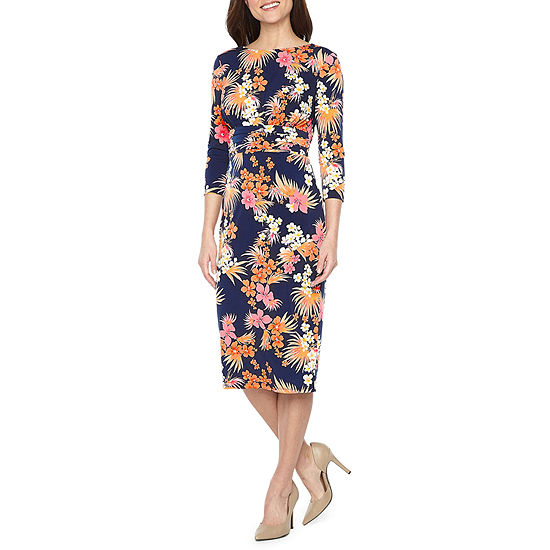 Melrose 3/4 Sleeve Floral Sheath Dress