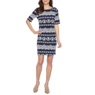 R & K Originals Elbow Sleeve Puff Print Shift Dress