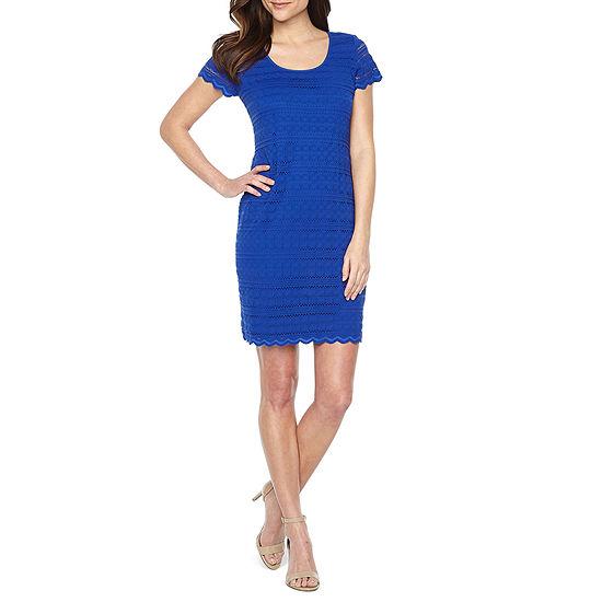 Ronni Nicole Short Sleeve Lace Circles Sheath Dress