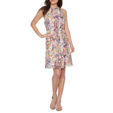 Be by CHETTA B Sleeveless Floral Fit & Flare Dress
