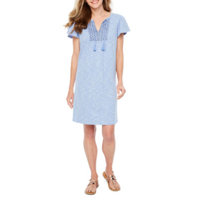 St. John's Bay Short Sleeve Embroidered Shift Dress