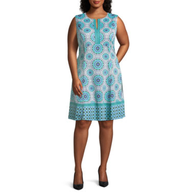 Liz Claiborne Sleeveless Pattern Fit & Flare Dress - Plus