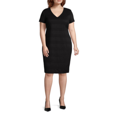 Premier Amour Short Sleeve Sheath Dress - Plus