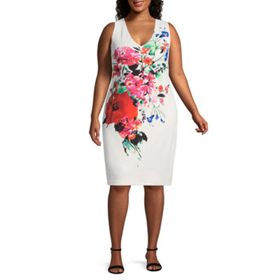 Premier Amour Sleeveless Floral Sheath Dress - Plus