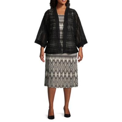 Danny & Nicole 3/4 Sleeve Kimono Jacket Dress - Plus
