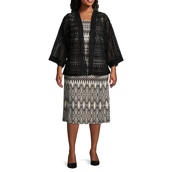 Danny Nicole 3 4 Sleeve Kimono Jacket Dress Plus