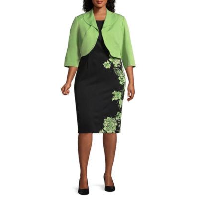Maya Brooke Sleeveless Jacket Dress - Plus