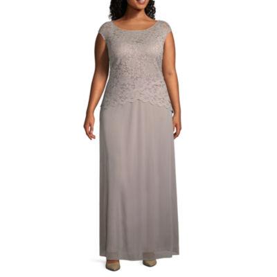 Onyx Nites Short Sleeve Evening Gown - Plus