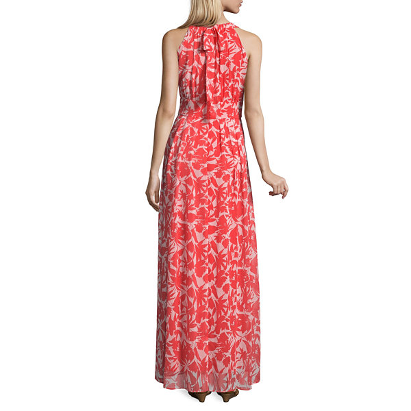 Ronni Nicole Sleeveless Leaf Maxi Dress-Petites