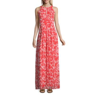 Ronni Nicole Sleeveless Leaf Maxi Dress-Petite