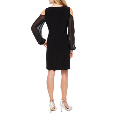 MSK Long Sleeve Cold Shoulder Embellished Shift Dress