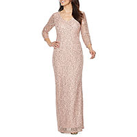 Blu Sage 3/4 Sleeve Evening Gown (Multiple Color)