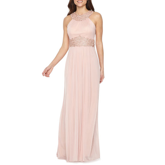 Decoded Sleeveless Embellished Halter Evening Gown
