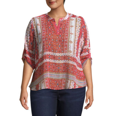 Unity World Wear 3/4 Sleeve Roll Tab Shirttail Blouse - Plus