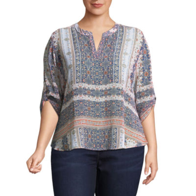 Unity World Wear 3/4 Sleeve Roll Tab Shirttail Blouse - Plus