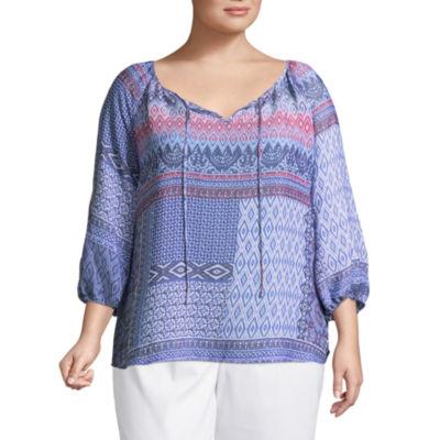 3/4 Sleeve Printed Peasant Blouse-Plus