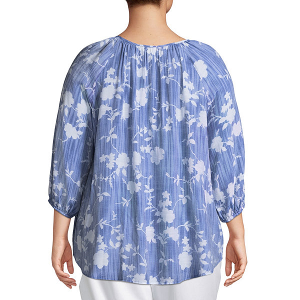 3/4 Sleeve Printed Peasant Blouse-Plus