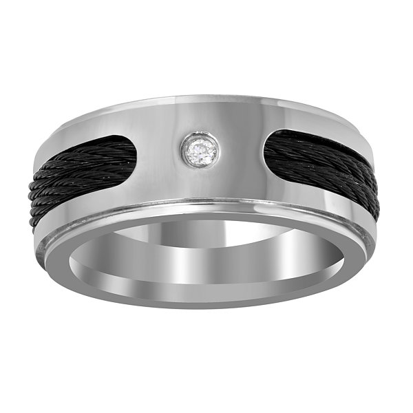 Mens Diamond Accent White Diamond Titanium Wedding Band