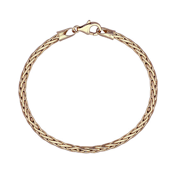 Made in Italy 10K Gold 8 1/2 Inch Hollow Wheat Chain Bracelet