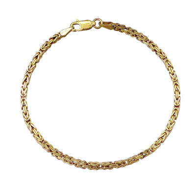 Made in Italy 10K Gold 8 1/2 Inch Hollow Byzantine Chain Bracelet