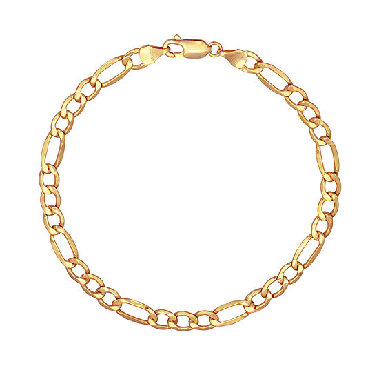 Made in Italy 10K Gold 8 1/2 Inch Hollow Figaro Chain Bracelet