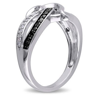 Womens 1/8 CT. T.W. White & Color Enhanced Black Diamond Sterling Silver Cocktail Ring