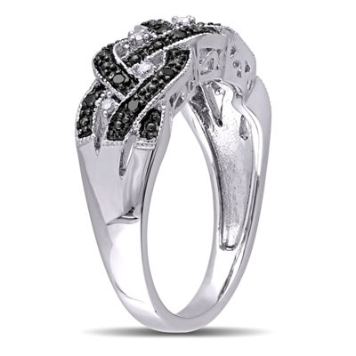 Womens 1/6 CT. T.W. White & Color Enhanced Black Diamond Sterling Silver Cocktail Ring