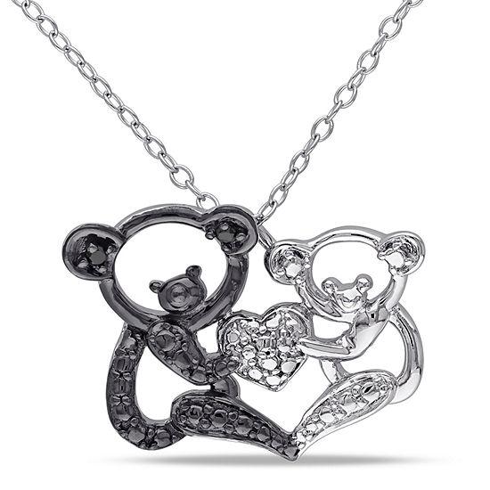 Womens Diamond Accent Black Diamond Sterling Silver Pendant Necklace