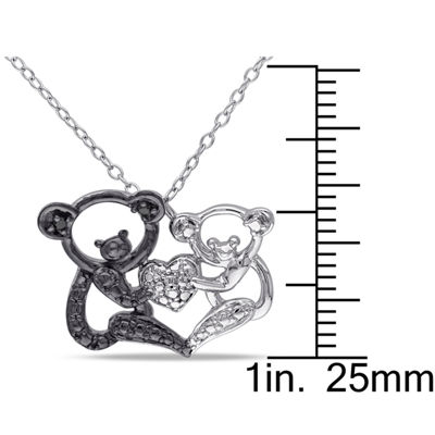 Womens Diamond Accent Black Diamond Accent Sterling Silver Pendant Necklace