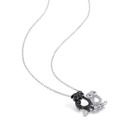 Womens Diamond Accent Genuine Black Diamond Sterling Silver Pendant Necklace