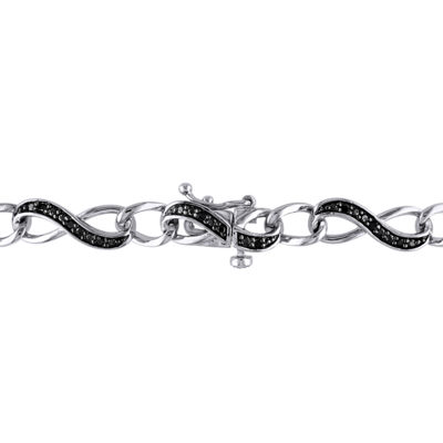 1/4 CT. T.W. Black Diamond Sterling Silver Infinity 7 Inch Tennis Bracelet