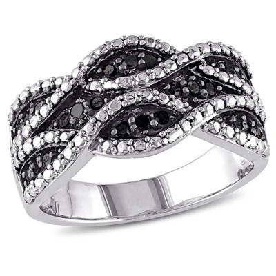 Womens 1/4 CT. T.W. Black Diamond Sterling Silver Cocktail Ring