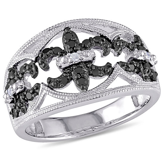 Womens 1/4 CT. T.W. White & Color Enhanced Black Diamond Sterling Silver Cocktail Ring