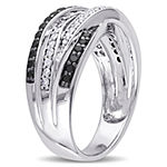 Womens 1/2 CT. T.W. White & Color Enhanced Black Diamond Sterling Silver Cocktail Ring