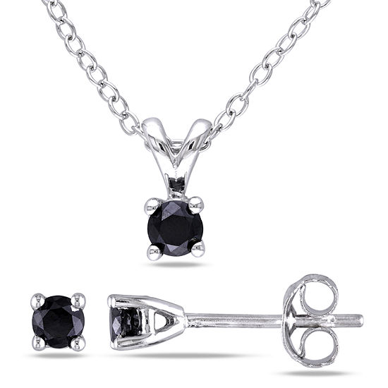 1/2 CT. T.W. Black Diamond Sterling Silver 2-pc. Jewelry Set