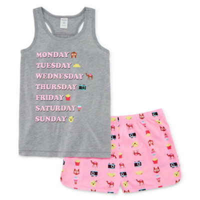 Arizona 2pc. Days of the Week Tank and Short Pajama Set - Girls 4-16 & Plus