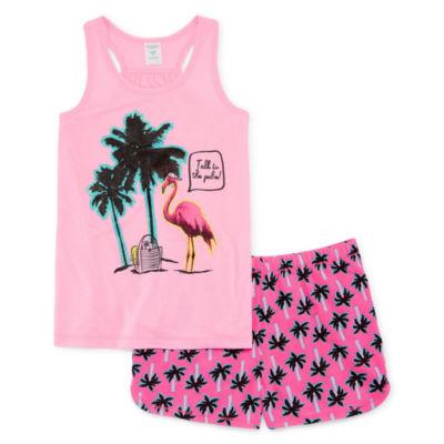Arizona 2pc Palm Tree Shorts Pajama Set Girls 4-16