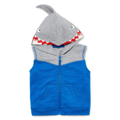 Okie Dokie Shark Sleeveless Hoodie - Baby Boy NB-24M