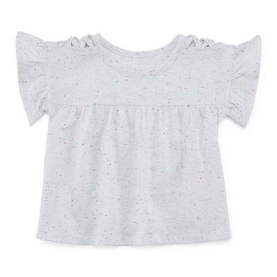 Okie Dokie Flutter Sleeve Tee - Baby Girl NB-24M