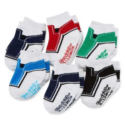 Okie Dokie Color Block 6 Pack Crew Socks - Baby