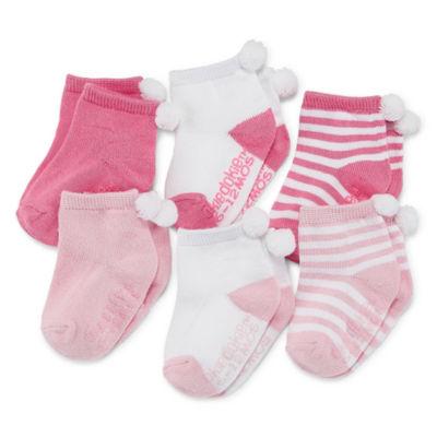Okie Dokie Pom Pom 6 Pack Crew Socks - Baby