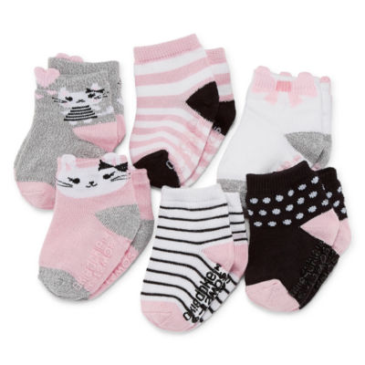 Okie Dokie Kitty Cat 6 Pack Crew Socks - Baby