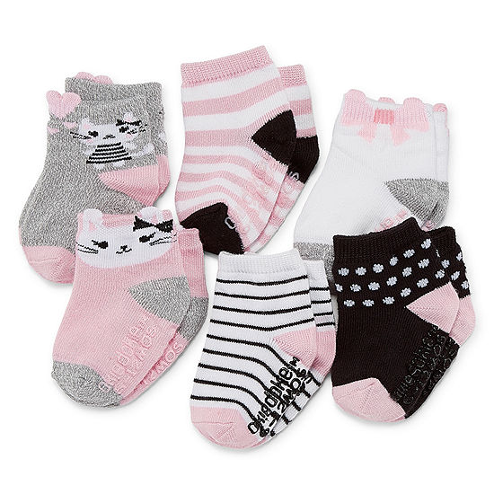 Okie Dokie Baby Girls 6 Pair Crew Socks