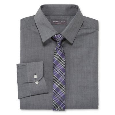Van Heusen Long Sleeve Boys Shirt + Tie Set 8-20 - Reg